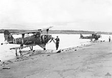 Airplane Picture - Damaged F1M2s at Rekata Bay, 1944.