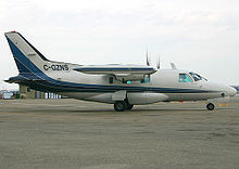 Airplane Picture - A stretched-fuselage Mitsubishi MU-2 Marquise taxiing at the Toronto City Centre Airport. This MU-2 is operated in a medevac configuration by Thunder Airlines of Thunder Bay, Canada