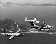 Airplane Picture - A RNZAF Sunderland MR.5 with a USN P-5 and a RAAF P-2 in 1963