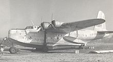 Airplane Picture - Sunderland III of Aquila Airways at Hamble Beach in 1955. This aircraft had served BOAC 1943-1948.