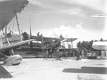 Airplane Picture - Vildebeest Mk.IIIs of 100 Squadron refuelling at Singapore, 1942.