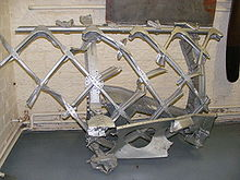 Airplane Picture - A section of the rear fuselage from a Vickers Warwick, showing the geodesic construction in duralumin. The Wellesley employed this same construction method and was the fore-runner to the Warwick and its half-sister, the Wellington.