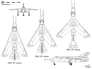 Airplane Picture - Orthographic projection of the SB5, with 60� sweep. The plan views show the 69� sweep setting (left) and 55� (right).
