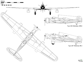 Airplane Picture - Orthographic projection of the Wellesley Mk.I, with profile of the Type 292 used by the LRDU record-breaking flight.