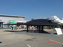 Airplane Picture - Full scale model of the stealth combat drone Dassault nEUROn, the
