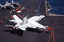 Airplane Picture - A Marine F/A-18 from VMFA-451 prepares to launch from the USS Coral Sea (CV-43)