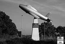 Airplane Picture - Frank Whittle's memorial showing a full-scale model of the Gloster E28/39
