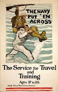 Airplane Picture - A recruitment poster from 1917, emphasizing the U.S. Navy's transport function