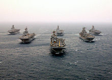 Airplane Picture - Six modern amphibious assault ships of the US Navy in formation