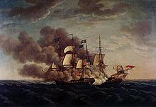 Airplane Picture - USS Constitution battles HMS Guerriere in the War of 1812.