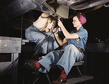 Airplane Picture - Women at work on bomber, Douglas Aircraft Company, Long Beach, California in October 1942.