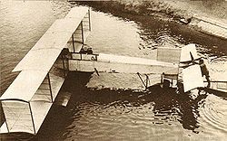 Airplane Picture - Canard Voisin seaplane under trial on the Seine, on August 3, 1911. The head of the aircraft is to the right.