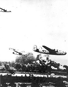 Airplane Picture - B-24s bomb the PloieÅŸti oil fields in August 1943