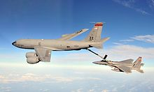 Airplane Picture - A Boeing KC-135 Stratotanker refueling an McDonnell Douglas F-15 Eagle. The KC-135 holds the record for the longest military service.