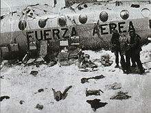 Airplane Picture - Three survivors of Flight 571 next to the wreck of the aircraft