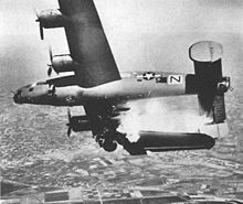 Airplane Picture - B-24L Stevonovitch II (AAF Ser. No. 44-49710) of the 464th BG, hit by 2 cm FlaK 30 while supporting ground troops near Lugo, Italy, 10 April 1945. Colonel James Gilson, commanding officer of the 779th BS and nine others were killed; one waist gunner was thrown clear and survived.
