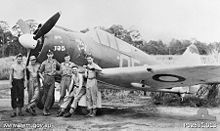 Airplane Picture - A No. 4 Squadron Boomerang and ground crew at Nadzab, New Guinea in October 1943 (AWM P02531.013)