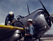 Airplane Picture - Refueling of an SNC-1 at NAS Corpus Christi, 1942.