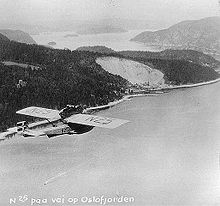 Airplane Picture - Amundsen's Dornier Do J flying over the Oslofjord, 1925.
