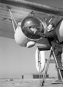 Airplane Picture - Anti-Submarine Weapons: Leigh light used for spotting U-boats on the surface at night, fitted to a Liberator aircraft of Royal Air Force Coastal Command. 26 February 1944.