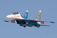 Airplane Picture - A Sukhoi Su-27UB of the Russian Knights aerobatic team showing two vertical stabilisers
