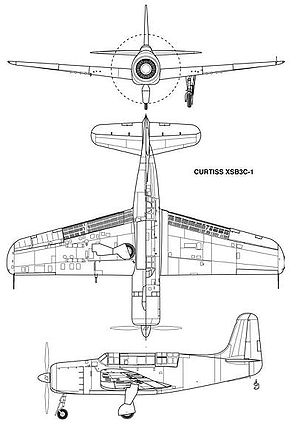 Warbird Picture - Three-view drawing of the XSB3C-1 from Johnson 2008.