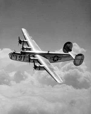 Warbird Picture - U.S. Army Air Forces Consolidated B-24D Liberator over Maxwell Field, Alabama.