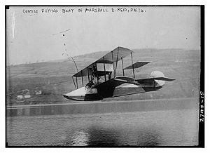Airplane Picture - Marshall Earle Reid at Keuka Lake in his Curtiss seaplane circa 1912