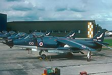 Aircraft Picture - Sea Harrier at RNAS Yeovilton. The glossy metallic blue paint scheme seen here was altered to a duller one en route.