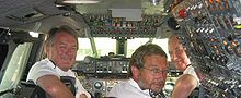Aircraft Picture - Mike Bannister (left) in the cockpit of BA002