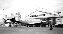 Aircraft Picture - The giant new DC-4E at the United Air Lines base at Oakland Airport