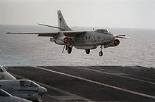 Aircraft Picture - An EA-3B of Fleet Air Reconnaissance Squadron TWO (VQ-2) lands on the USS Kitty Hawk in 1987
