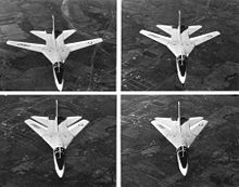 Aircraft Picture - Four-photo series showing the F-111A wing sweep sequence