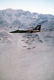 Aircraft Picture - An F-111A dropping 24 Mark 82 low-drag bombs in-flight over a bombing range.