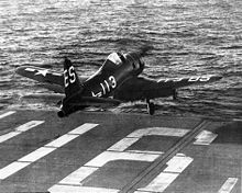 Aircraft Picture - An FR-1 launching from USS Badoeng Strait, 1947.