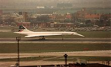 Aircraft Picture - Concorde with droop nose in fully down position during rollout after landing.