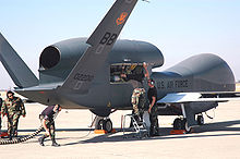 Aircraft Picture - A maintenance crew prepares a Global Hawk for a test at Beale Air Force Base