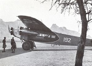 Aircraft Picture - Swissair Fokker F.VIIb-3 m (CH-192) piloted by Walter Mittelholzer in Kassala (Sudan), February 1934.