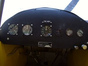 Aircraft Picture - Inside the cockpit of a Piper Cub. The aircraft has far fewer instruments than more modern aircraft.
