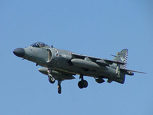 Aircraft Picture - A Sea Harrier FA2 of 801 NAS in flight at the Royal International Air Tattoo.