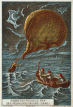 Aviation History - Arban is rescued by Italian fishermen, 1846. Illustration from the late 19th Century.