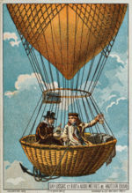 Aviation History - Gay-Lussac and Biot ascend to 4,000 m in a hot air balloon, 1804. Illustration from the late 19th Century.