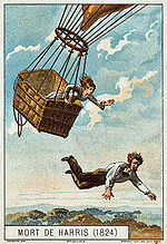 Aviation History - Harris jumps from his balloon to save his fianc�e. Illustration from the late 19th Century.