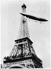 Airplane Picture - Santos-Dumont's Number 6 rounding the Eiffel Tower in the process of winning the Deutsch Prize. Photo courtesy of the Smithsonian Institution (SI Neg. No. 85-3941)
