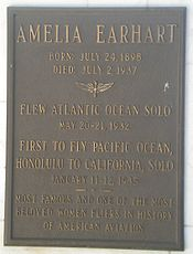 Aviation History - Earhart Tribute at Portal of the Folded Wing; note error in birthdate.