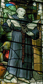 Aviation History - Elmer of Malmsbury - Stained glass window showing Eilmer, installed in Malmesbury Abbey in 1920
