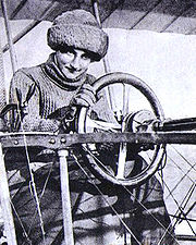 Aviation History - Raymonde de Laroche - Raymonde de Laroche in her Voisin aeroplane in 1909