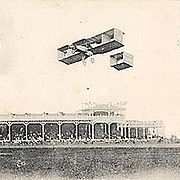 Aviation History - Raymonde de Laroche - Raymonde de Laroche in flight in her Voisin biplane at the Reims airshow in 1910