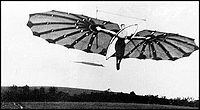 Airplane Picture - Percy Pilcher flying his Hawk hang glider. UK, 1897. Shown might be Miss Dorothy Pilcher, Percy's cousin who was towed in a flight.