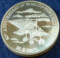 Aviation History - Richard Pearse - A silver medal struck by the New Zealand Mint for the New Zealand Museum of Transport and Technology in 1982 to commemorate the